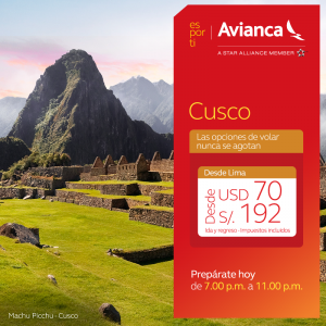 Avianca  Lima a Cusco con tarifas exclusivas