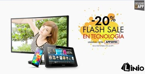 Linio – 20% flash sale en tecnología
