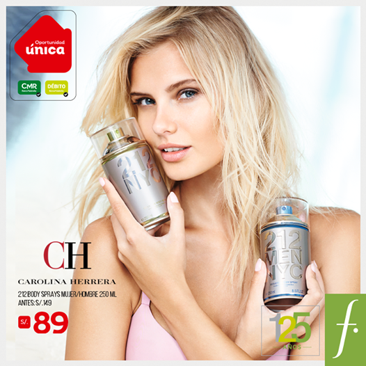 Saga Falabella – Body spray 212 de Carolina Herrera a S/.89