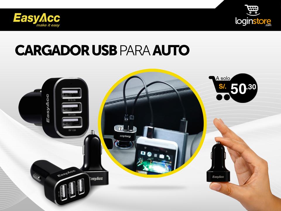 Loginstore – Cargador USB para auto a sólo S/.50.30