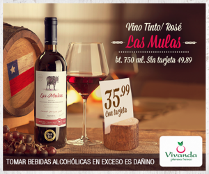 Vivanda – Vino tinto/rosé Las Mulas a sólo S/.35.99