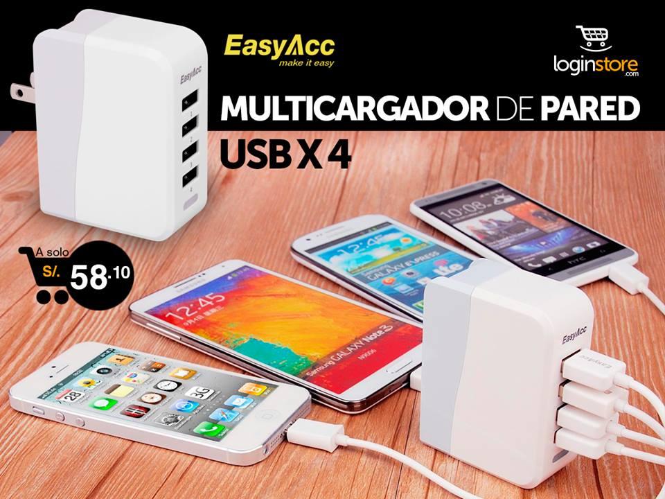 Loginstore – Multicargador de pared USBx4 a sólo S/58.10