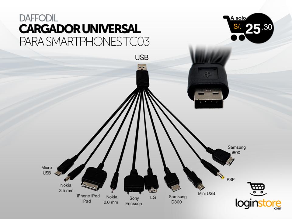 Loginstore – Cargador universal USB a sólo S/.25.30