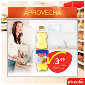 Plaza Vea – Aceite de soya Bell's a sólo S/.3.99