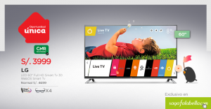"Saga Falabella – Smart TV 60"" LG a solo S/.3,999"