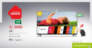 "Saga Falabella – Smart TV 60"" LG a solo S/.3,999"