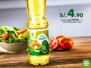 Aceite Vegetal Tottus a sólo S/4.90
