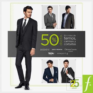 50% de descuento en ternos, camisas y corbatas