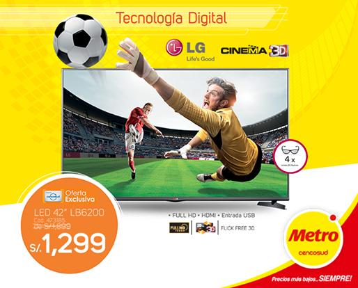 Televisor LG 42″ Cinema 3D a sólo S/.1299