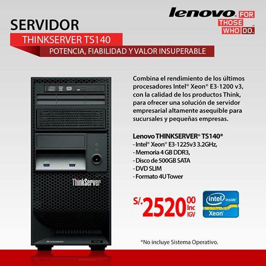 Servidor Lenovo ThinkServer TS140 a sólo S/.2520