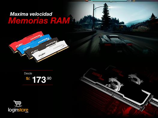 Memorias RAM desde S/.173.90