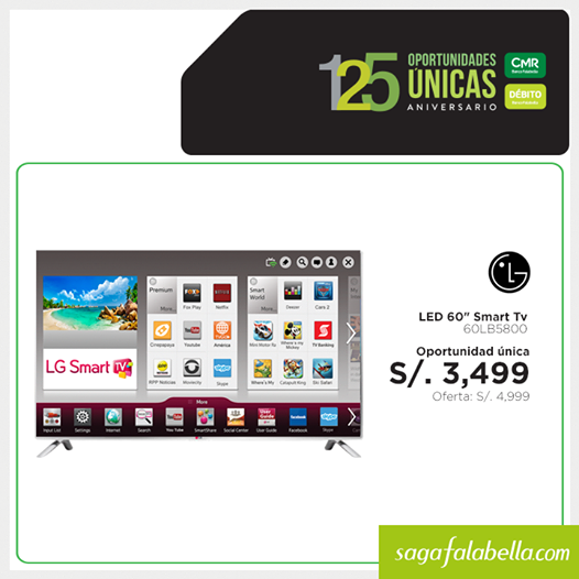 Smart TV LED LG 60″ a S/.3,499