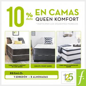 10% de descuento en camas Queen Komfort