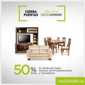 50% de descuento en sofás de cuero, centros de entrenimiento y comedores