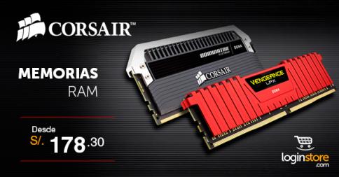 Memorias RAM Corsair desde S/.178