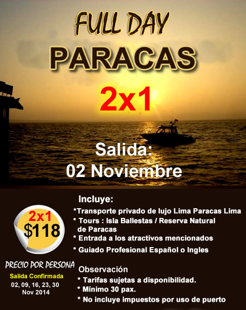 Full Day Paracas 2 x 1 desde $118