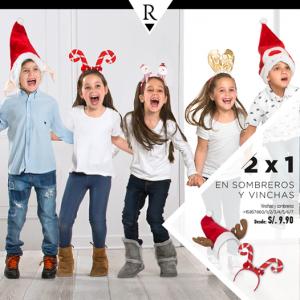 2 x 1 en sombreros y vinchas de Navidad
