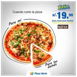 Pizza Americana familiar a sólo S/. 19.90