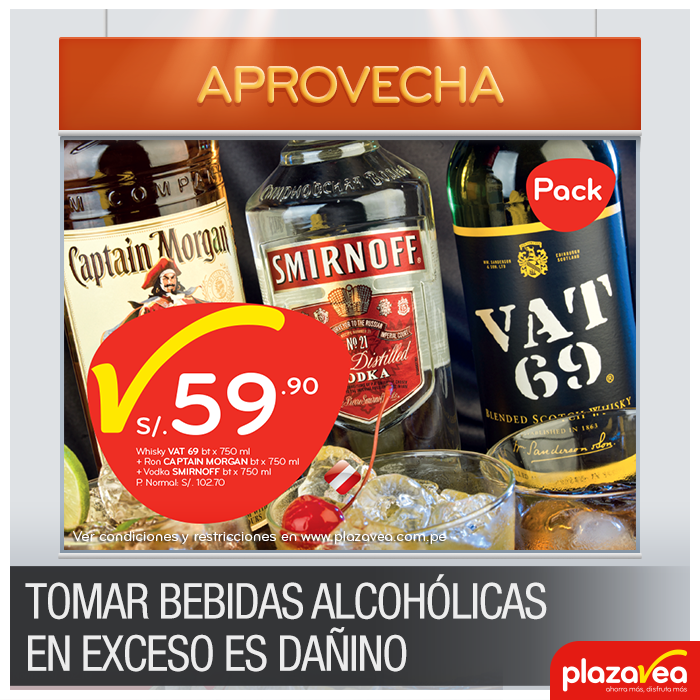 Whisky + Ron + Vodka a sólo S/. 59.90