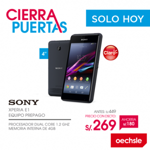 Sony Xperia E1 a sólo S/. 269.00