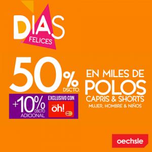 50% de descuento en polos, capris y shorts