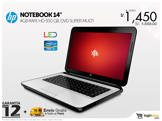 Notebook HP a sólo S/. 1450.00