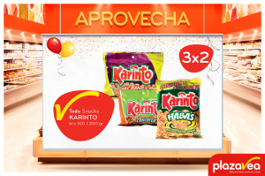 3 x 2 en snacks Karinto