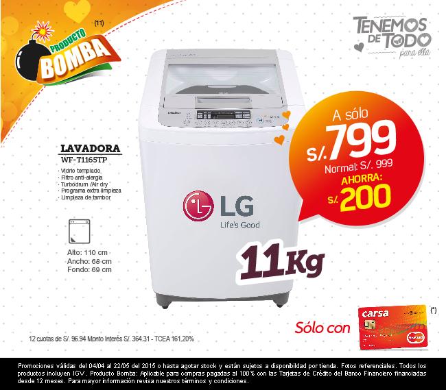 Lavadora LG 11 kilos a solo S/.799.00