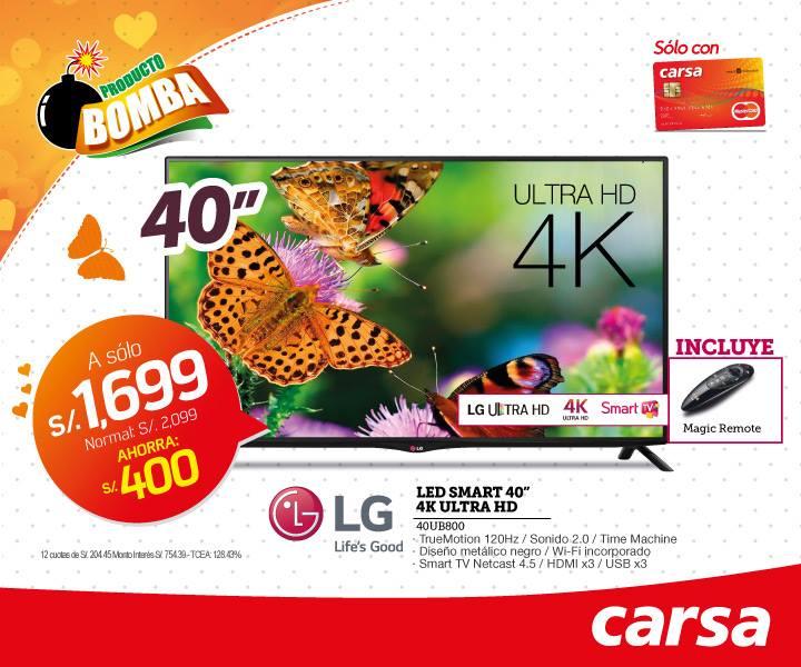 Televisor Led Smart 40 pulgadas 4k UltraHD a solo S/.1699.00