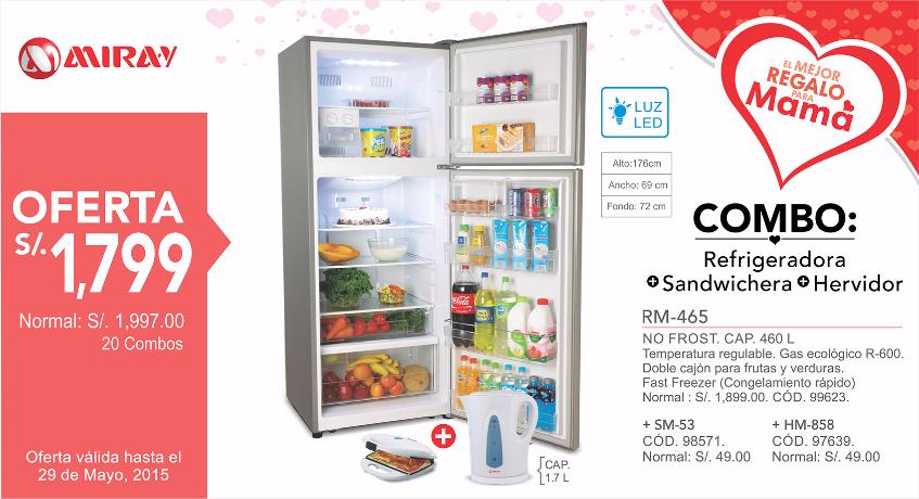 Combo Refrigeradora, Sandwichera y Hervidor a solo S/.1799.00