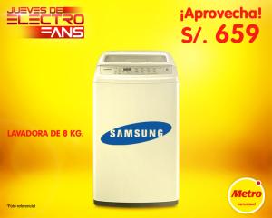 Lavadora Samsung 8 Kg. a un súper precio S/. 659.00 con cupon