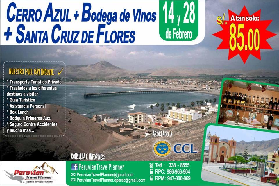 Paga S/.85.00 por Full day Playero Cerro Azul + Santa Cruz de Flores + Copa de Vino.