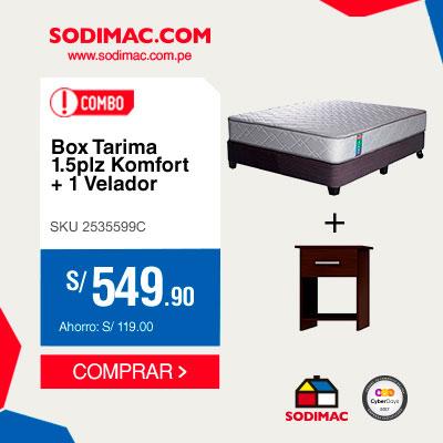 Combo Box Tarima Fiesta 1.5 plazas + Velador de 1 cajón