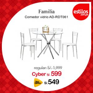 Familia comedor vidrio AD-RDT061 + 4 sillas white AD-NC28