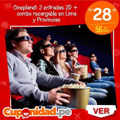 S/ 28.90 por 2 entradas 2D + combo recargable, elige tu sede de Cineplanet en Lima y Provincias.