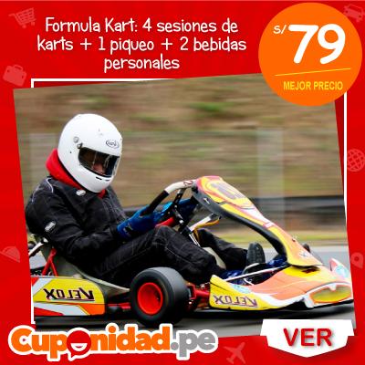 ¡Vive la adrenalina! S/ 79 por 4 sesiones de Karts para 2 personas + 1 piqueo salchipapero + 2 bebidas personales en Fórmula Kart Perú