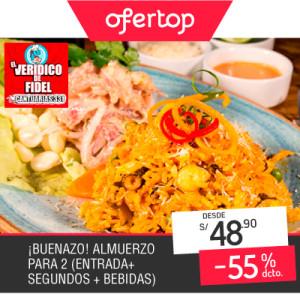 Paga desde S/ 48.90 en vez de S/ 109.00 por Almuerzo para 2, Incluye: 2 Leches de Tigre + Combinado + Bebida y Más en Verídico de Fidel, Cantuarias – Miraflores