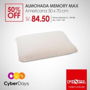 ALMOHADA MEMORY MAX AMERICANA 50 X 70 CM por S/. 84.50 – 50% descuento