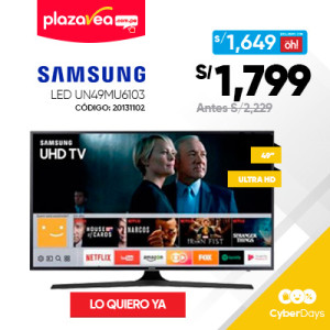 TELEVISOR SAMSUNG LED 49″ UHD 4K SMART TV UN49MU6103