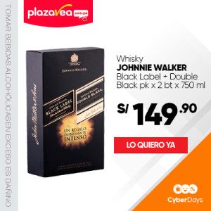 Whisky JOHNNIE WALKER Etiqueta negra Botella 750Ml+ Double black Botella 750Ml