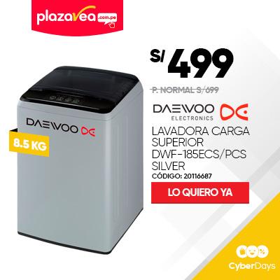 LAVADORA DAEWOO 8.5KG CARGA SUPERIOR DWF-185ECS/PCS SILVER
