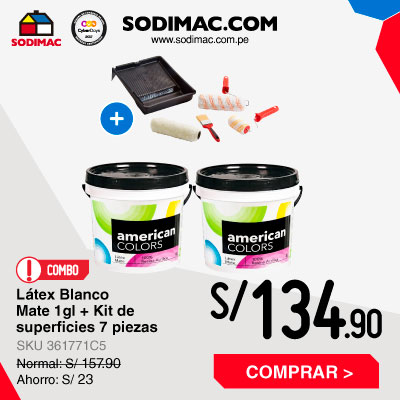 Combo 2 Látex Blanco Mate 1gl + Kit de superficies acabado fino 7 piezas