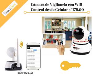 Cámara de vigilancia + visión nocturna + wifi + Control del celular s/ 179.90